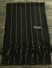 Fashion 100% Cashmere Scarf BLACK/White Striped  Made in Scotland SOFT Warm NEW