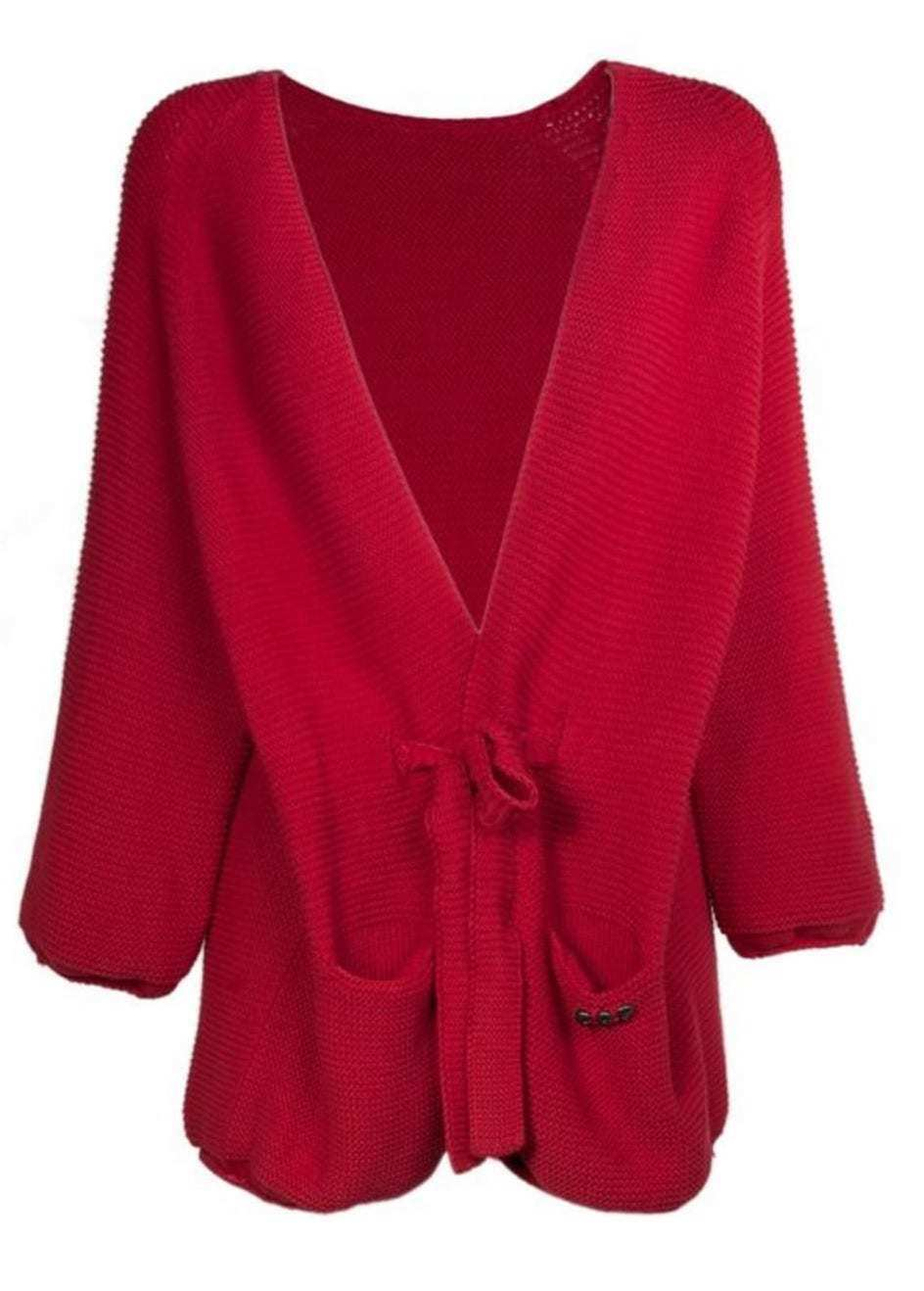 Cop copine beethoven gilet knitted 100%cotton red open cardigan Made in Portugal