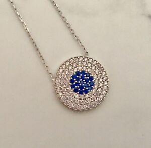 925-Sterling-Silver-Evil-Eye-Necklace-Greek-Mati-Nazar-CZ-Crystal-Cubic-Zirconia