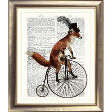 ART PRINT ON ORIGINAL ANTIQUE BOOK PAGE Bicycle FOX BOOK PAGE BIKE Cycle FOXES