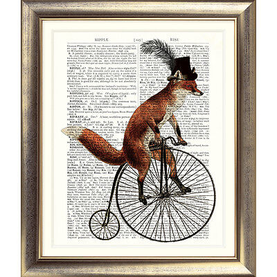 ART PRINT ON ORIGINAL ANTIQUE DICTIONARY BOOK PAGE Bicycle FOX BIKE Cycle Retro
