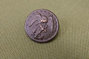 Civil-War-USMC-Marine-Brass-Button-Waterbury-Co-Eagle-Anchor-Large-1-amp-1-8-034