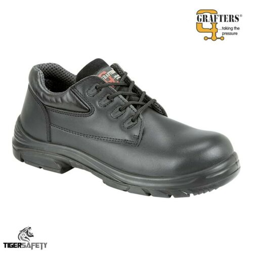 Grafters M9504A S1P SRC Black Wide Fitting EEEE Steel Toe Cap Safety Shoes PPE