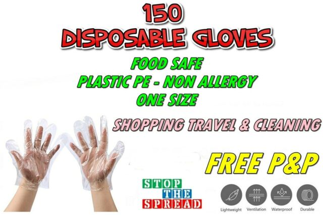 150 DISPOSABLE GLOVES FOOD SAFE USE & THROW PE POLYETHENE GLOVESBARGAIN BUY NEW