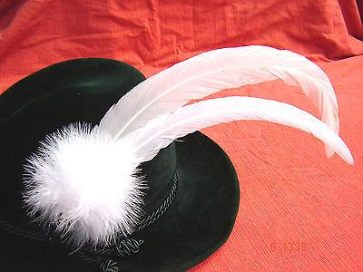 bayrische Hutfeder Trachtenfeder Hahnenschlappen weiß 2fach ca 30cm mit Halter