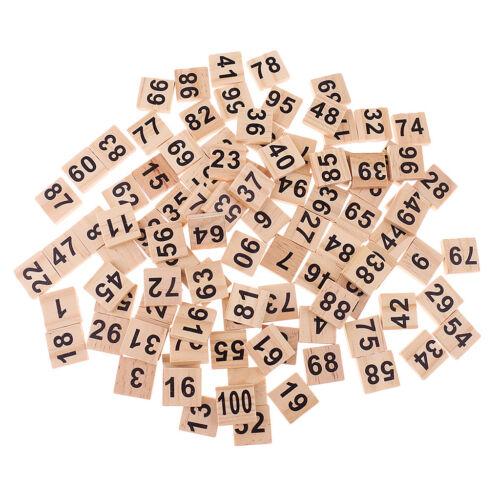 100pcs Hölzerne Individuelle Fliesen Nummer Zahlen für Nummerieren Spiel