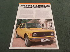 1981 1982 ZASTAVA Yugo 1100 ZLM MEDITERAN 3 DOOR - UK COLOUR LEAFLET BROCHURE