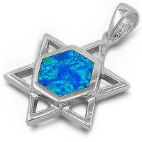 Australian Fire Opal Star Of David, Jewish Charm .925 Sterling Silver Pendant on sale