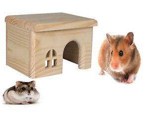 TRIXIE-SMALL-ANIMAL-NATURAL-WOOD-HAMSTER-MOUSE-CAGE-HOUSE-HIDE-FLAT-ROOF-61261