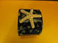 Sea Life Acrylic Tortoise Cuff Bracelet with Gold Starfish Medallion, NEW