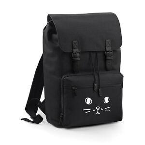 Image Is Loading Cute Cat Face Bag Backpack Rucksack Grunge School