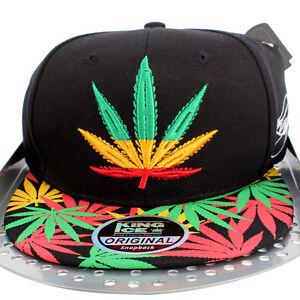 La imagen se está cargando Rasta-Kush-Hierba-Cannabis-Visera-Granja-Gorra- Plana- 420b9633153