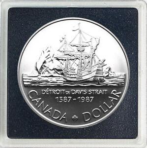 CANADA-1-Dollar-1987-Silver-BU-039-400th-Anniversary-of-John-Davis-Expedition-039