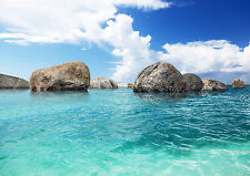 BLUE SEA STONES SKY Photo Wallpaper Wall Mural TROPICAL 360x254cm HUGE!
