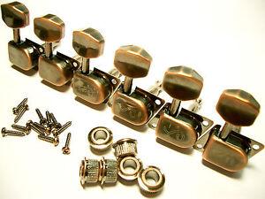 Schaller-Original-F-Series-70s-Tuners-Mechaniken-6-links-Vintage-Copper