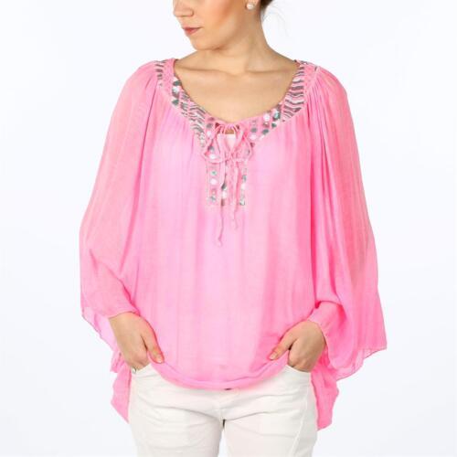 ITALY Damen Tunika Fledermaus Bluse bunt Pailletten IBIZA FESTIVAL 38 40 42 pink