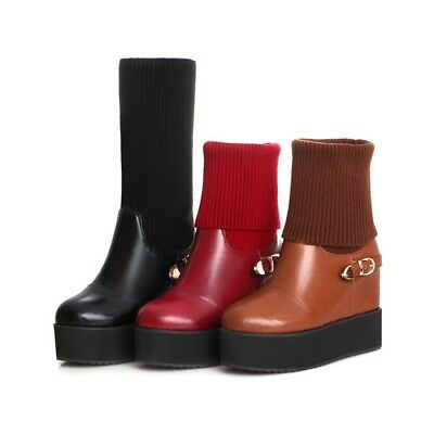 Women Ankle Boots Mid-Calf Boots Knitted Buckle Platform Hidden Wedge Heel Shoes