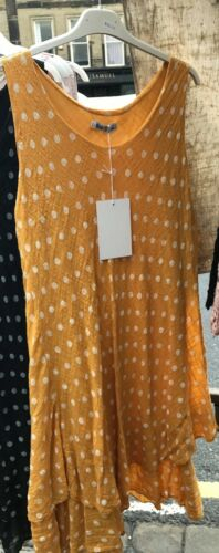"New Ladies Italian Polka Dots 2 Layered Cotton Lagenlook Tunic Top Dress 37/""long"