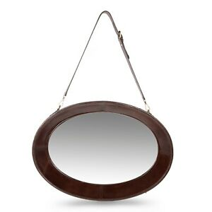 Large-Oval-Wall-Mirror-Hanging-Adjustable-Strap-Genuine-Leather-Living-Bedroom