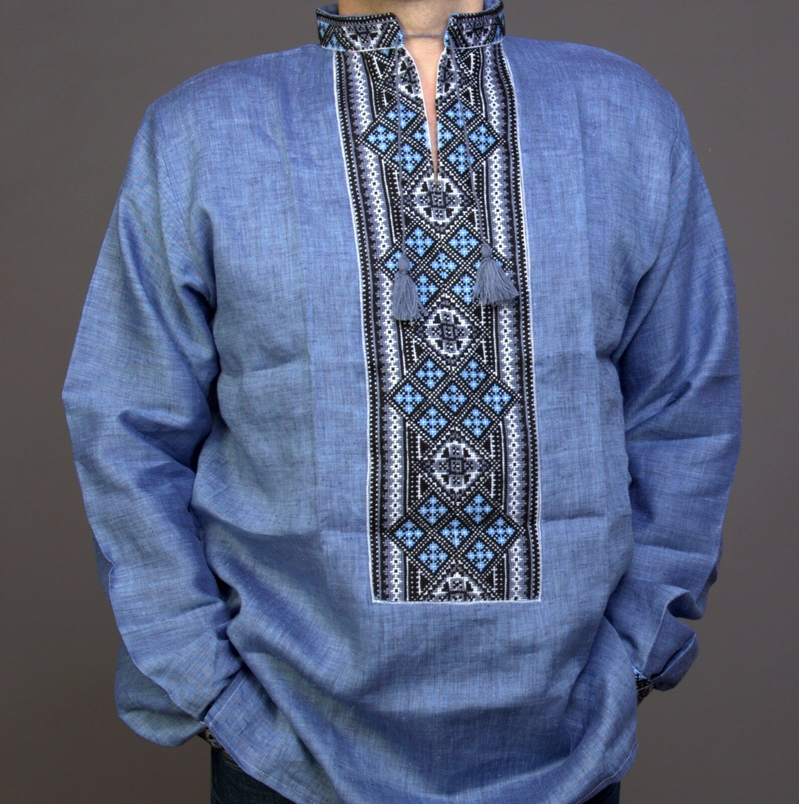 VYSHYVANKA for Man Ukraine Embroidery LINEN bluee White S-4XL Easter Gif