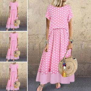 Womens-Loose-Short-Sleeve-Polka-Dot-Sexy-Party-Evening-Dresses-Long-Maxi-Dress