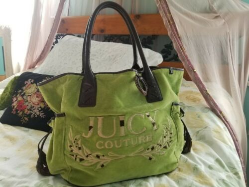 Juicy Couture Green Velour Embroidered Logo Handba