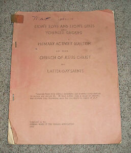 Zions Boys And Girls Primary Activity Bulletin 1941 Lds Mormon Book