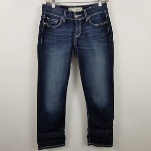 BKE-Denim-Buckle-Culture-Crop-Capri-Women-039-s-Dark-Wash-Blue-Jeans-Size-26