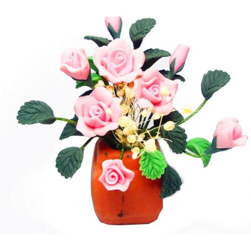 1:12 Dollhouse Miniature DIY Garden Flowers Arrangement Pink Rose Red Pottery