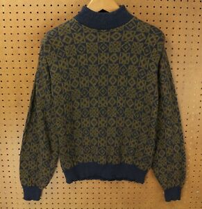 vtg-usa-made-LL-BEAN-cotton-sweater-LARGE-abstract-print-80s-90s