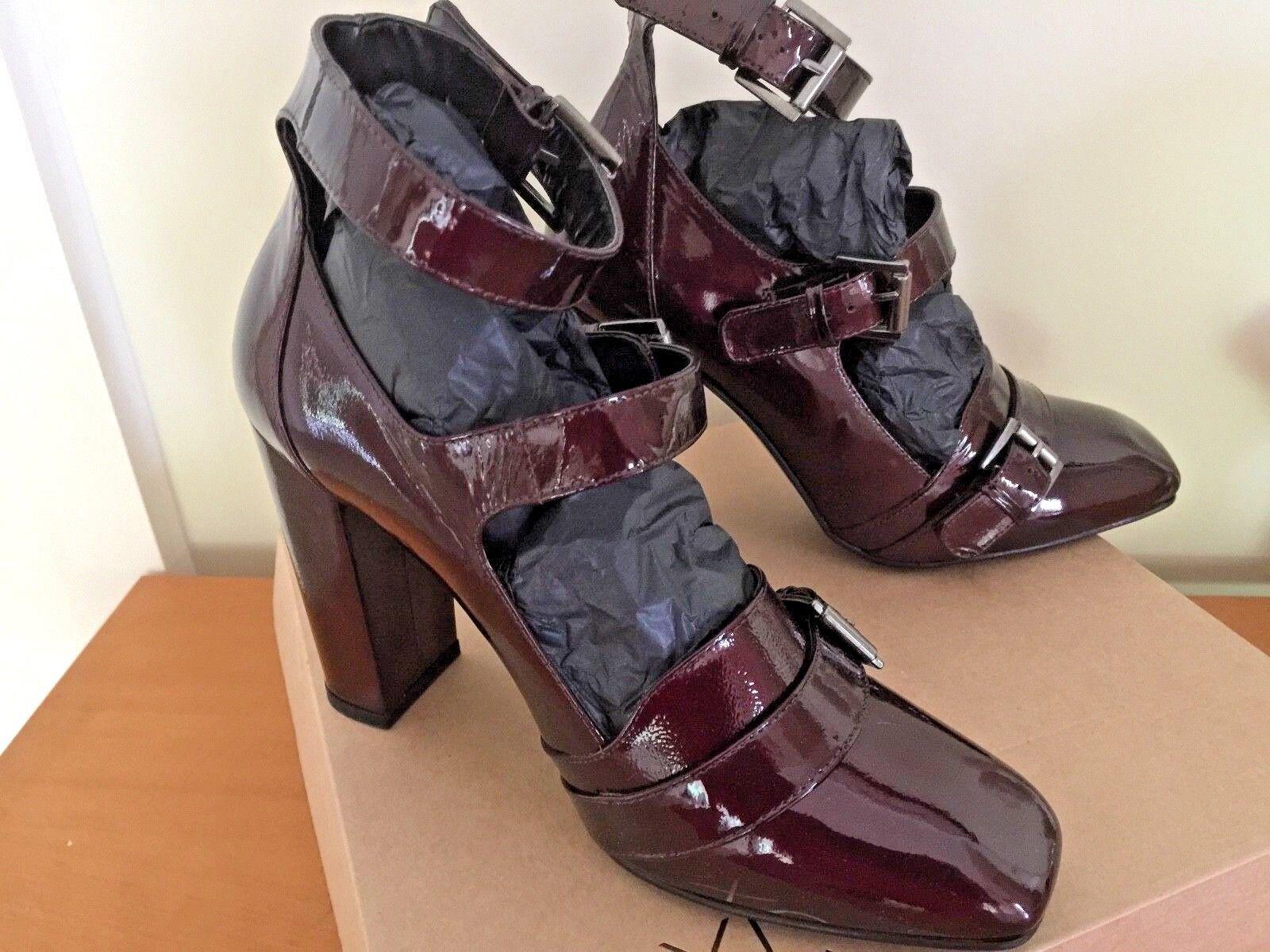 Leder Damens Schuhes colour NEW Größe 40EU 6.5 UK Berry colour Schuhes with buckles 8ef8d7