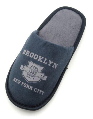 Slumberzzz Boys Brooklyn Terry Open Back Slipper Mule