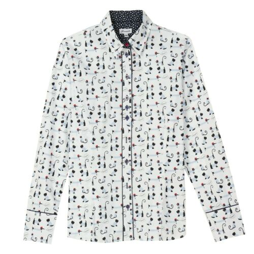 Small Women/'s Dog Print Oxford Top Black and White Button Down Shirt