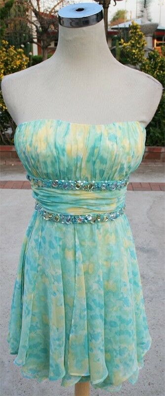 NWT MORGAN & CO  Green   Yellow Prom Party Dress 5