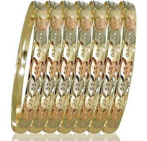 Image Is Loading Semanario Bangles Bracelets 6mm Wide 3 Tone 14k