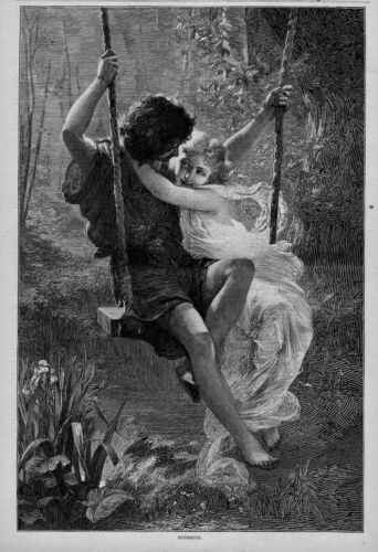 ANTIQUE ENGRAVING YOUNG BOY AND GIRL IN LOVE SWINGING ON THE SWING SUNSHINE
