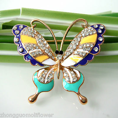 Navachi Super Butterfly Insect Colorful Enamel Crystal Pin Brooch BH7011
