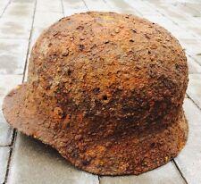 #43 WWII Germany German Original War Damaged Relic Combat Helmet LINER INTACT!