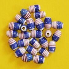 50 Keramik Perlen: 14 mm blau+weiß+rot, oval eiförmig,Schmuck Stars+Stripes Inka