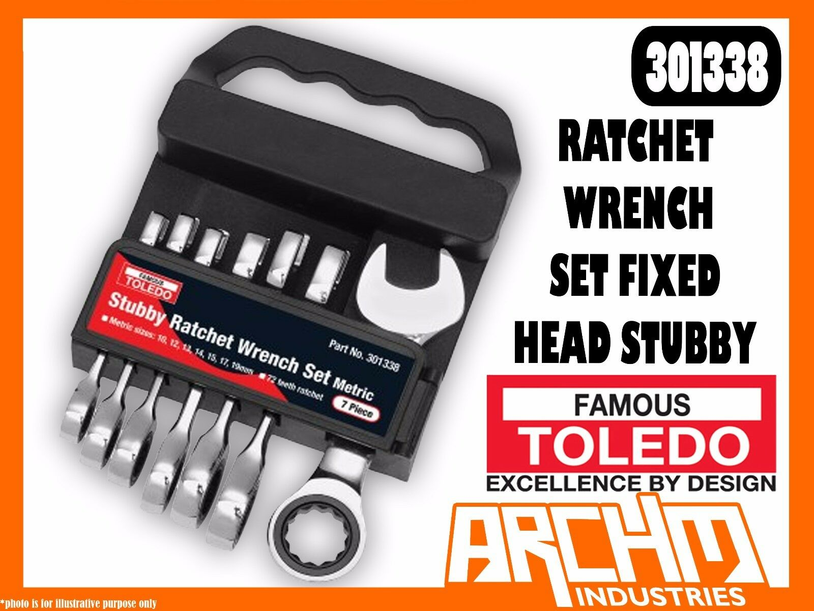 TOLEDO 301338  - RATCHET WRENCH SET FIXED HEAD STUBBY - METRIC 7 PC. (10-19MM)