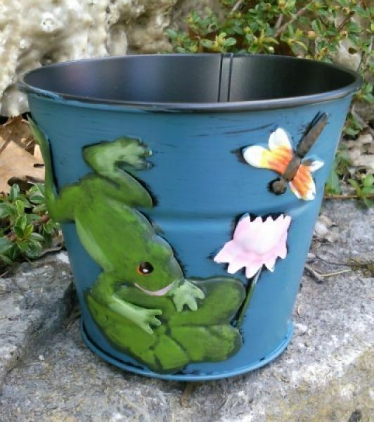 HAPPY METALL Blumenübertopf Frosch