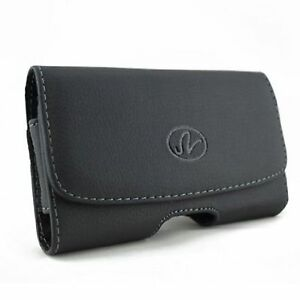 Black-Leather-Sideways-Horizontal-Belt-Clip-Case-Pouch-Cover-for-LG-Cell-Phones
