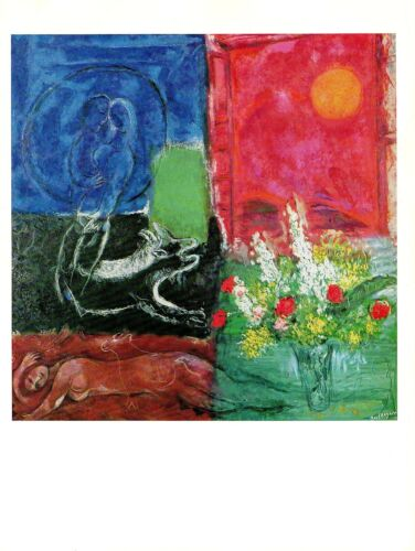 "LE SOLEIL/"" COLOR offset Lithograph 1972 Vintage MARC CHAGALL /""THE SUN OF POROS"