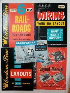 LOT of (5) ATLAS HO BOOKS - CUSTOM LINE LAYOUTS, BLUEPRINTS, MOTORING & RACING