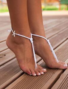 0f711a0dbb5 Beach Wedding Barefoot Sandals Crochet for Bride Anket Starfish Bead ...