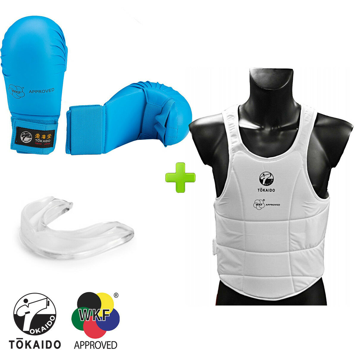 New  bluee Tokaido Karate WKF Competition G s &  Body Predector w  Mouthguard.  lowest whole network