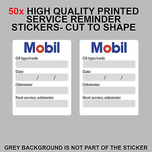 Details About 50x Mobil Oil Change Service Reminder Stickers Adhesive Labels Set Of 50