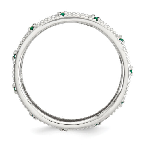 Details about  /Lex /& Lu Sterling Silver Stackable Expressions Created Emerald Ring LAL7424