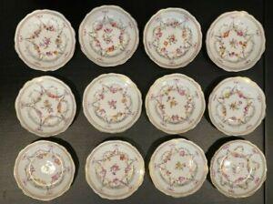 Antique Carl Thieme Allemagne dessert assiettes. Lot de 12! excellent!