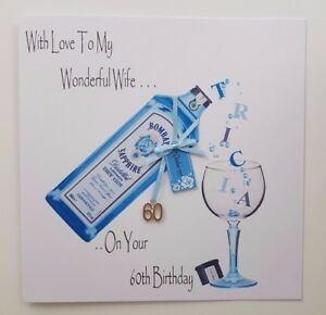 Personalised gin bottle birthday card wife husband mum dad 40th 50th image is loading personalised gin bottle birthday card wife husband mum bookmarktalkfo Gallery